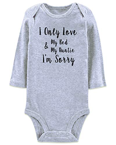 Only Love My Bed and My Auntie I'm Sorry Funny Saying Jumpsuit Aunt Onesie Spring Outfit 1st Birthday Gift Romper Letter Bodysuit for Infant Toddler Baby Babe Creeper Girl Boy Unisex,12-18 Months (Best Birthday Gift For Toddler Boy)