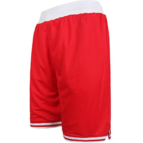 Zetti Mens Jersey Pants Soft Basketball Gym Fitness Shorts - Red - 6XL Size