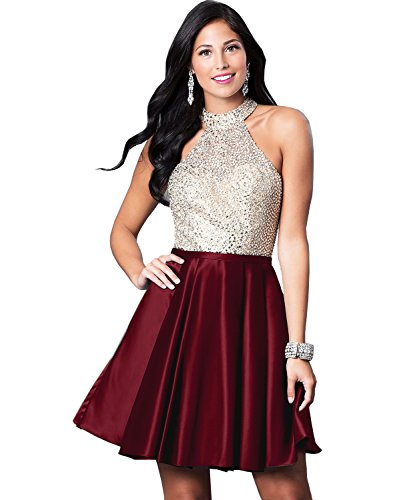 Yilis Women's High Neck Beaded Bodice Satin Homecoming Dress Short Formal Party Gown with Pockets Size 8 Burgundy