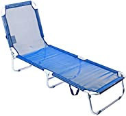 Cadeira Espreguiçadeira Aluminio-c/catraca - Textilene - Azul Bel Fix Azul