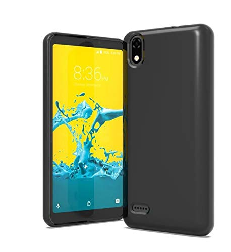 TPU Flexible Skin Protective Case Phone Cover for ZTE Blade T2 Lite Z559DL + Gift Stand (Black) (Skin Phone Protector Cover)