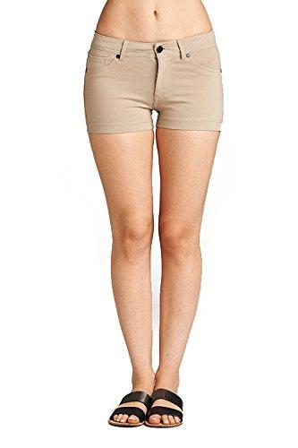 Emmalise Women's Summer Casual Stretchy Low Rise Booty Shorts - Khaki, S (Shorts Women Khaki)