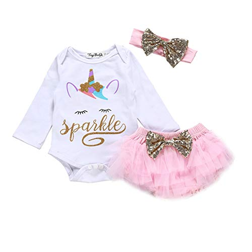 Baby Girl Unicorn Costume Outfit Infant Sparkle 1st Birthday Romper+Tutu Princess Skirt Dress Bow Headband Skirt Sets]()