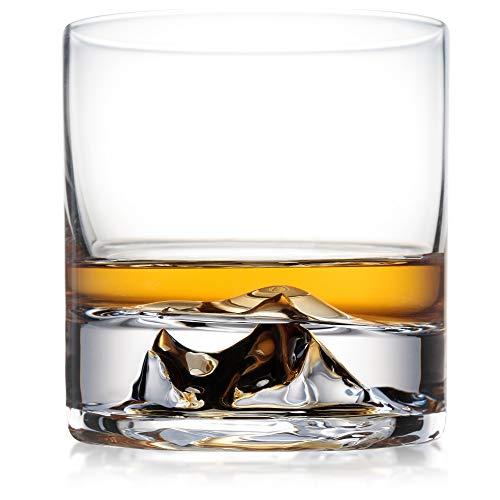 Everest Whiskey Glasses Set of 2, Bourbon Glasses, Scotch Glasses, Ultra Clear Whisky Tumblers, Unique Liquor Glass, Premium Rocks Glass Set