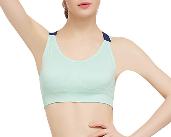Quge Sujetador Deportivo Yoga Cruzados Espalda Sin Aros para Mujer Glauco S