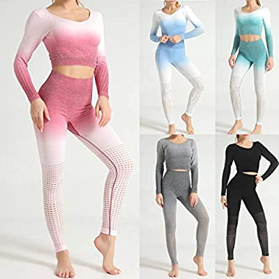 Women 2 Piece Outfits Sets, Ulanda Womens Long Sleeve Crop Top Workout High Waist Pants Leggings Yoga Casual Tracksuit: Clothing
