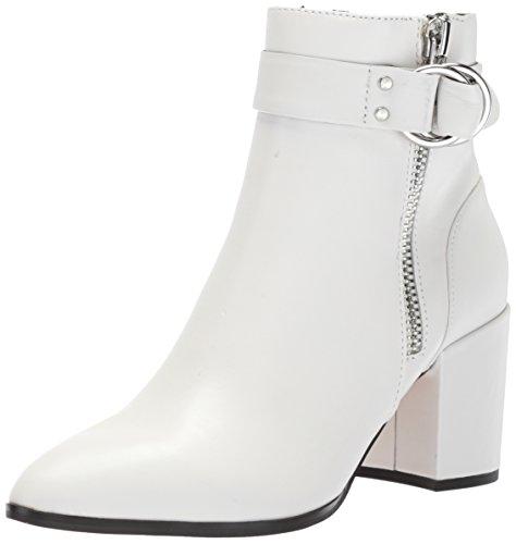 STEVEN by Steve Madden Women's johannah Ankle Boot, White Leather, 6 M US