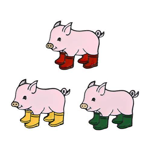 Novelty Brooch Pin Set Cute Cat Cartoon Enamel Lapel Pins Set Badges Ornaments (Pig in Boots Set of 3)