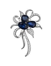 Joyfulshine Womens Crystal Flower Brooch Pin White Gold Plated for Ladies Girls Dress Shawf Sarf Accessories