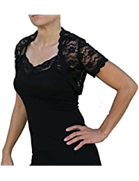 Stretch Lace or Stretch Velvet Cropped Short Sleeve Bolero Shrug Jacket