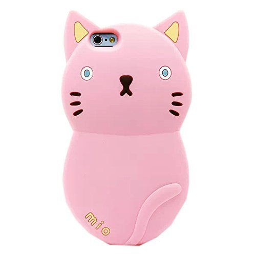 """TFS iPhone 6 Case ,iPhone 6 4.7"""" Silicone cover ,3D Cute Cat Cartoon Designed Soft Silicone Protective Case Cover for Apple iPhone 6 4.7inch (Pink)"""