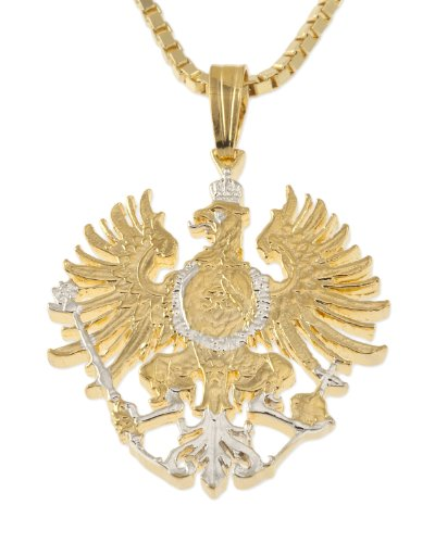 Germany Pendant & Necklace, German Five Mark Hand Cut (Pendant Cut Out Eagle)