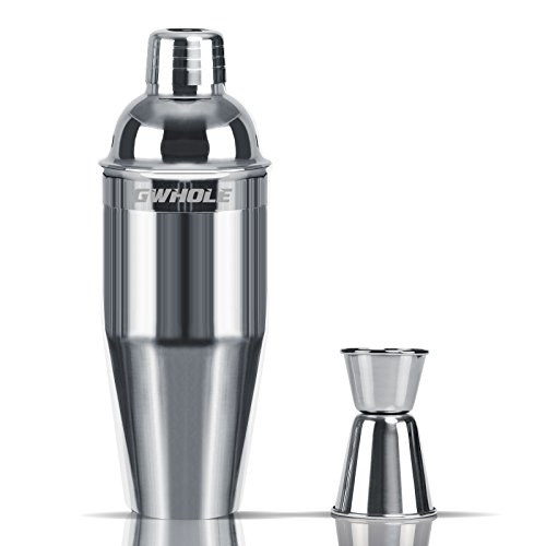 - GWHOLE 3-Piece Stainless Steel Cocktail Martini Shaker Set,25 Oz with Built-in Strainer and Jigger