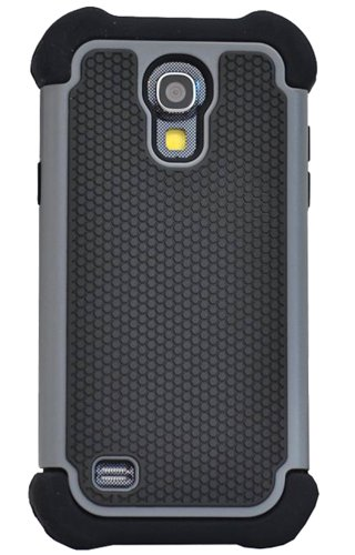 Huaxia Datacom Dual Layer Armored Hybrid Cover Case with Inner Soft Case and Hard Outter Shell for Samsung Galaxy S4 Mini i9190 (not for Galaxy S4) - Gray / Black