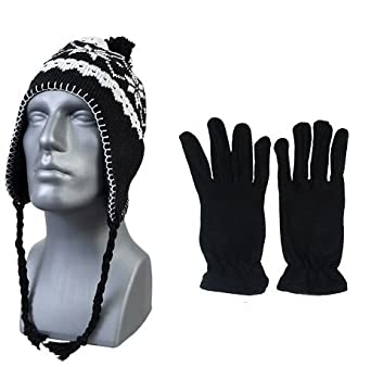 7223bb1e176a4f (Black) Peruvian Winter Hat Earflaps and. Womans Mens Unisex, One Size Fits