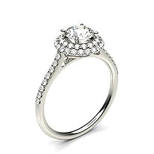 18K White Gold 4 Prong Setting Side Stone Halo Engagement Ring Size - 5.25