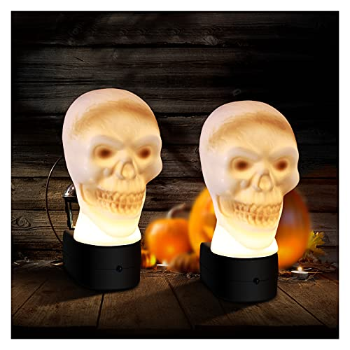 Halloween Decorations Night Lights Skull - LED Wall Decor Nightlight Plug-in, Dusk to Dawn Sensor, Automatic On&Off, Manual Switch, for Home&Commercial Use, Bathroom, Bedroom, Party, Kids(2 Packs)