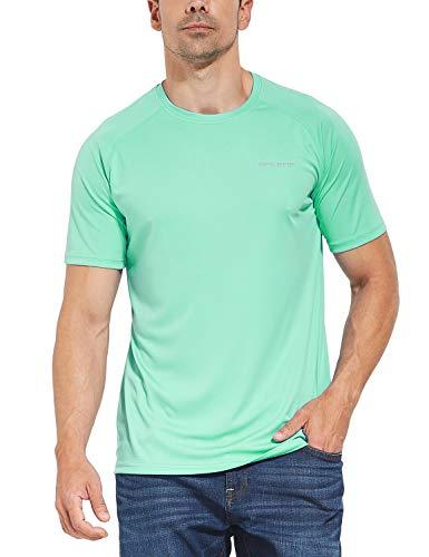 - Baleaf Men's UPF 50+ Outdoor Running Workout Short-Sleeve T-Shirt Light Green Size M