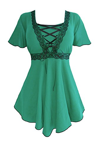 Dare to Wear Victorian Gothic Boho Women's Plus Size Angel Corset Top Emerald/Black 3X