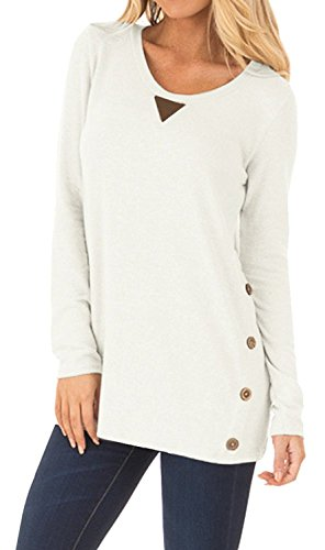 DEARCASE Women's Round Neck Tunic Soft Tops with Faux Suede and Button Blouses Tops White Small by DEARCASE (Image #3)