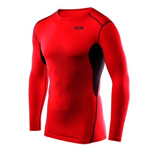 (TCA Men's Boys HyperFusion Thermal Compression Shirt Long Sleeve Base Layer Top - Red/Black Medium)