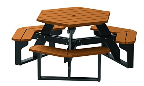 4' Recycled Plastic Hex Table - Seats 6 People - Black Frame - Cedar