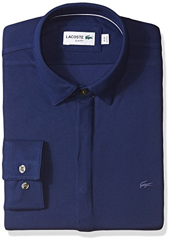 Lacoste Men's Long Sleeve Button Down Textured Jersey Slim Fit, Methylene, 44 (Button Jersey Down Embroidered)