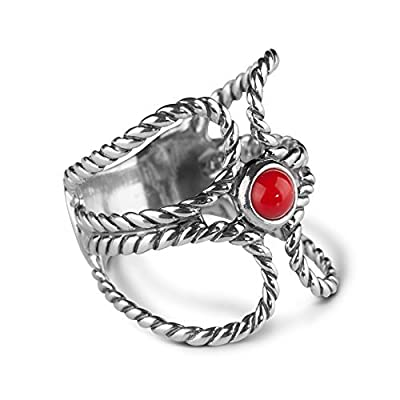 American West Sterling Silver and Gemstone Rope Ring