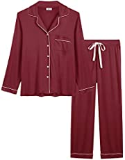 Joyaria Womens Soft Bamboo Pajama Sets Button Down Long Sleeve Pj Pants Set Sleepwea