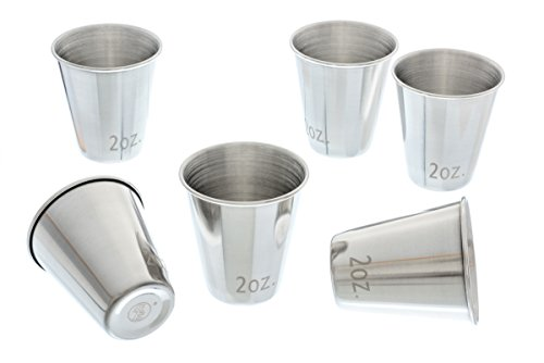SE DJ-SG62 6 Pc Stainless Steel Shot Glass Set, 2 Oz - Best Dallas Texas In Mall