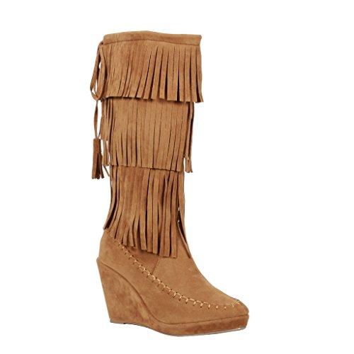 Coshare Women's Fashion Moccasin Fringe Tassel Triple Layer Wedge Boots
