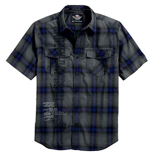 Short Sleeve Plaid Woven Shirt (Harley-Davidson Men's Heathered Short Sleeve Plaid Woven Shirt 96452-17VM (L))