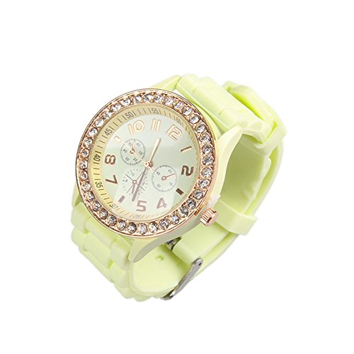 (OFTEN Ladies Women Girl Silicone Quartz Crystal Stone Jelly Wrist Watch)