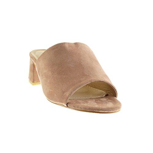 Angkorly - Chaussure Mode Sandale Mule femme Talon bloc 5.5 CM - Rose