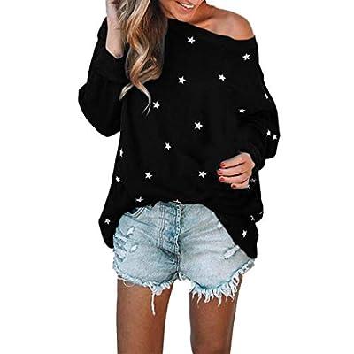 Womens Winter Width Tops Shirt Long Sleeve Cotton Blouse Pullover Star Pattern