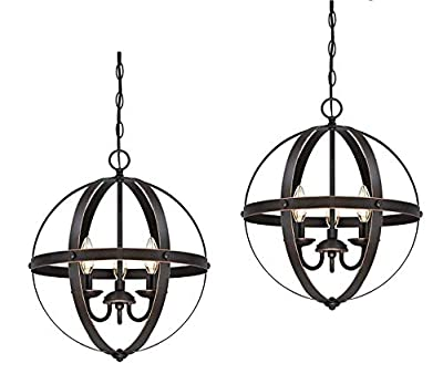 Westinghouse Lighting 6341800 Stella Mira Three-Light Pendant, Oil Rubbed Bronze Finish with Highlights W - 2 Pack