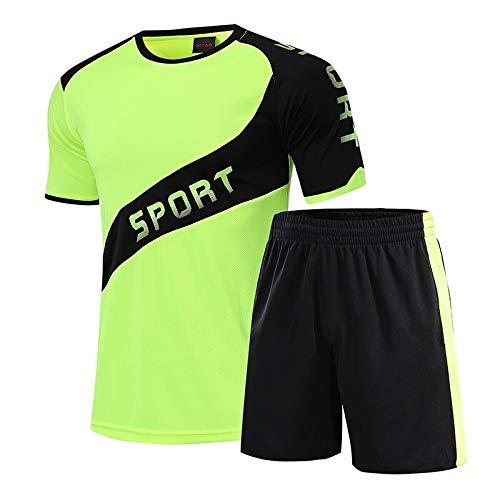 Zxl-yf Sportanzug Herren Sommer schnelltrocknende Kleidung Kurzarm Badminton Laufbekleidung Fitnesstraining Anzüge locker schweißabsorbierend atmungsaktiv (Farbe : Grün, größe : M)