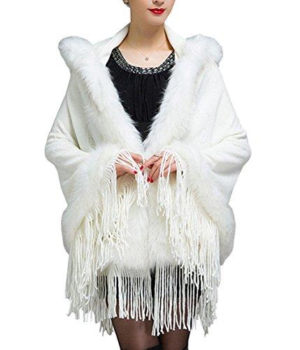 Women Tassel Faux Rabbit Fur Batwing Sleeve Warm Coat Knitted Hoodie Cape Shawl (White)