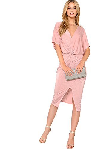 Floerns Women's Short Sleeve V Neck Twist Front Split Midi Dress Pink L