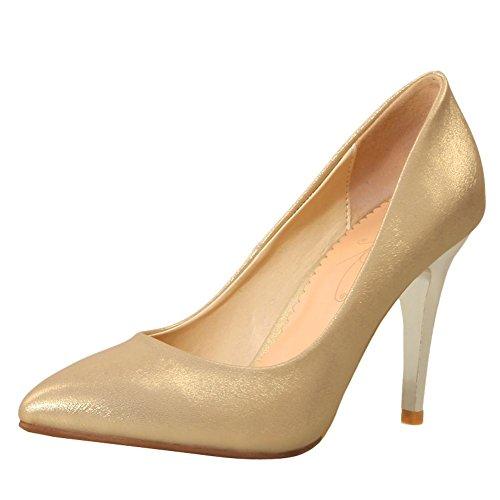 Mee Shoes Damen high heels Geschlossen Glattleder Pumps Gold