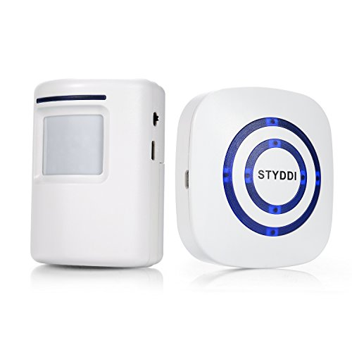 Wireless Driveway Alert, STYDDI Infrared Sensor Doorbell & Alarm with 1-Plug in Receiver and 1 PIR Motion Sensor Detector Alert System by STYDDI