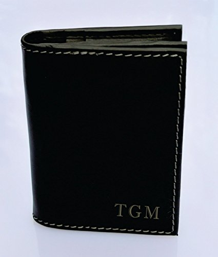 Engraved Men's Black Leather i-Fold Wallet Personalized Free Monogrammed Customized Free