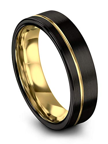 Midnight Rose Collection Tungsten Wedding Band Ring 7mm for Men Women 18k Yellow Gold Plated Flat Cut Off Set Line Black Brushed Polished Size 10 (7mm For Men Tungsten Black Rings)