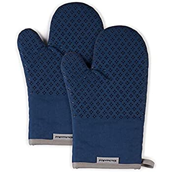 KitchenAid Asteroid Cotton Oven Mitts with Silicone Grip, Set of 2, Blue