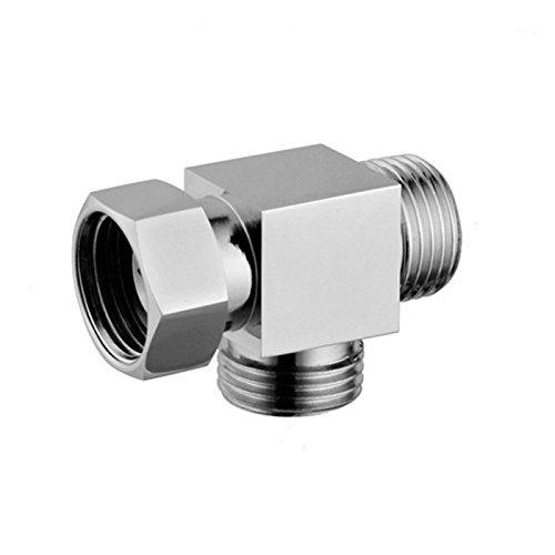 "outlet 1/2"" Brass Chrome 3-Way T-adapter Valve Diverter for Bath Toilet Bidet Sprayer"