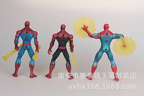 2015 Genuine Spiderman 3D doll model, Figure pvc toy 12cm Spiderman with light Kids Child Toys
