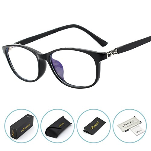 GQUEEN Blue Light Blocking Computer Glasses,Anti Glare Eye Fatigue with Wayfarer TR90 Frame Transparent - For Users Protective Computer Eyewear