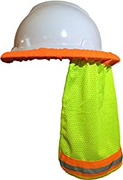 Hard Hat Neck Shade / Helmet Sun Shield With Reflective Stripe High Visibility Safety (Safety Green)