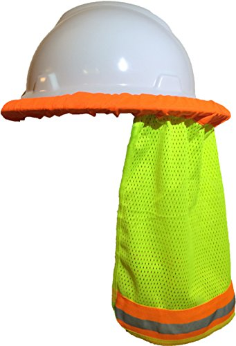 - Hard Hat Neck Shade / Helmet Sun Shield With Reflective Stripe High Visibility Safety (Safety Green)