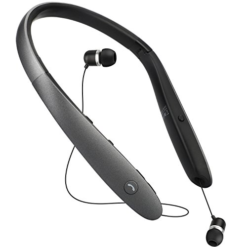 Bluetooth Headphones Retractable Bluetooth Foldable Wireless Neckband,Sports Headset With Mic Retractable Earbuds,Stereo Noise Cancelling Headphone,One-click Evoke Siri & Bixby(Titanium ()